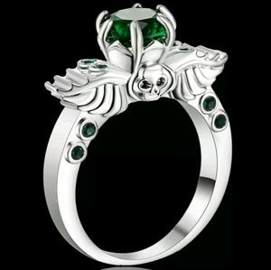 White Rhodium Plated Emerald Skull Ring. Size 9